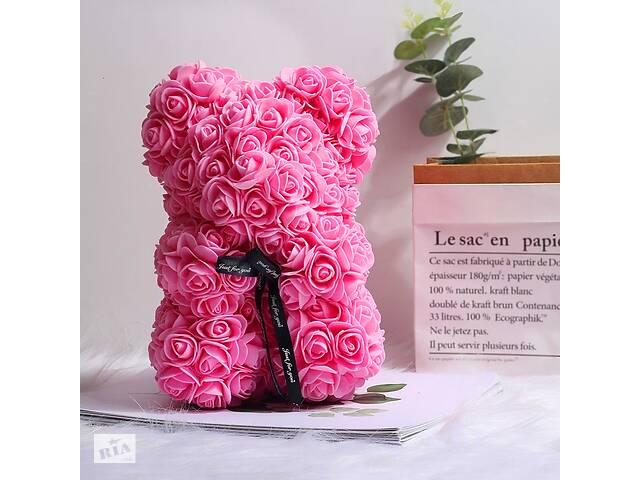 Мишка из роз 25 см в подарочной коробке 3D Teddy Flower Оригинальный подарок девушке в подарочной упаковке Розовый