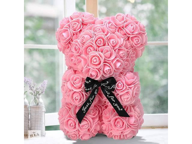 Мишка из роз 25 см в подарочной коробке 3D Teddy Flower Оригинальный подарок девушке в подарочной упаковке Светло-роз...