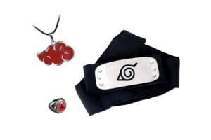 "Набор аксессуаров Наруто: Повязка ""Скрытый Лист"", кольцо Шаринган, цепочка-шнурок Акацуки. - Naruto Set"
