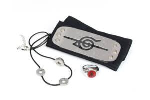Набор аксессуаров Итачи Учиха 3в1: налобный протектор, кольцо, цепочка-шнурок, Naruto SET