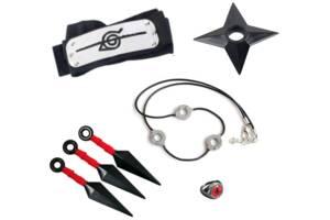 Набор аксессуаров Итачи Учиха 5в1: кунаи, налобный протектор, кольцо, цепочка, звезда-сюрикен - Naruto SET5