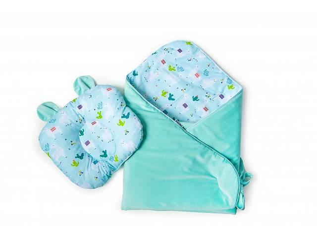 продам Набор конверт-плед с ортопедической подушкой Twins Bear, 100х100 см., мятный бу в Києві