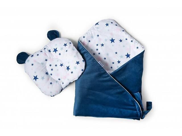 Набор конверт-плед с ортопедической подушкой Twins Bear, 100х100 см., синий- объявление о продаже  в Києві
