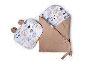 Набор конверт-плед с ортопедической подушкой Twins Bear, 100х100 см., кофе с молоком