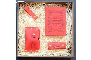 Набор кожаных аксессуаров Babak Evora, красный