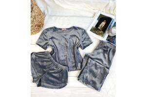 Плюшевий комплект трійка: Футболка + шорти + штани