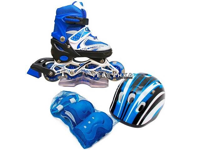 купить бу Ролики раздвижные SkateX Combo Kit Led 34-37 с комплектом защиты Синий в Киеве