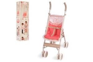Складная коляска трость для кукол с поворотными колесами и подножкой 90133, коралловая