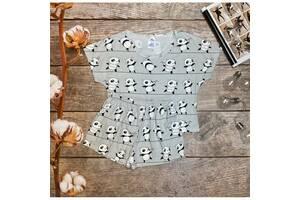 Трикотажна жіноча піжама футболка з шортами Панда сірий, M