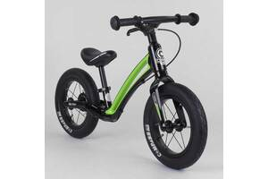 """Велобег детский с магниевой рамой и задним ручным тормозом Corso """"Prime C7"""" Black/Green (98691)"""