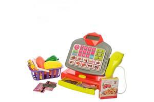 Игровой набор Кассовый аппарат 66077 с калькулятором, микрофоном и сканером, продукты и деньги в комплекте