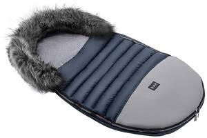 Зимовий конверт Bair Polar premium темно-синій - сіра шкіра