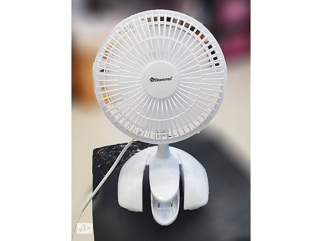 бу ✅ вентилятор настільний domotec 15см 15вт 3 пласт. лоп. прищіпка ms-1623 в Харкові