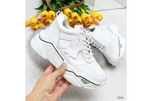 Белые кожаные кроссовки деми, женские кожаные кроссовки, женские кроссовки 36-41р код 7045