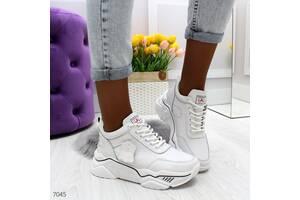 Белые кожаные кроссовки, женские кожаные кроссовки, кроссовки кожа, жіночі кросівки 36-41р код 7045