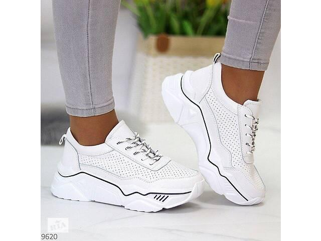 Белые кожаные женские кроссовки с перфорацией, кожаные кроссовки 40,41р код 9620- объявление о продаже  в Ровно