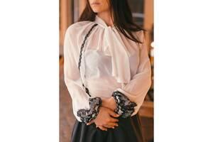 Блузка белая с искусственным шифона с БАНТОМ E44