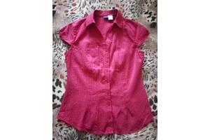 Блуза блузка рубашка приталенная стрейч 48р М-Л BodyFlirt Германия малиновая цвет фуксия на лето без рукавов