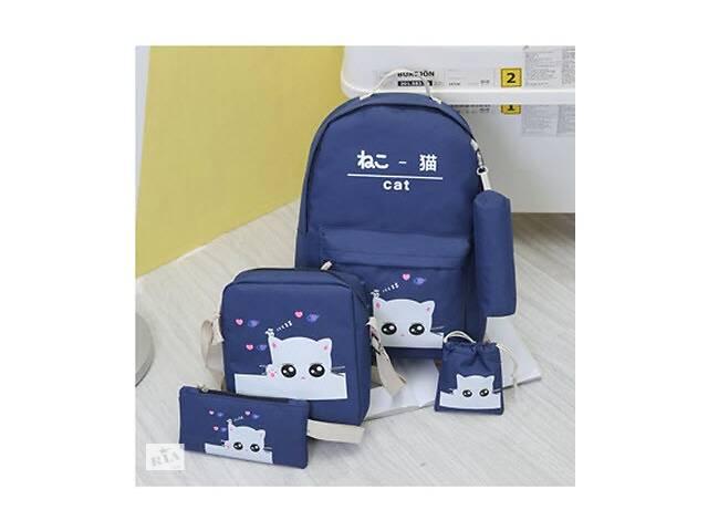 бу Большой тканевый набор с принтом Котика 5в1 Рюкзак, барсетка, косметичка, мешочек, пенал в Хмельницком