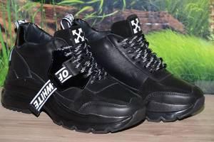 Ботинки кроссовки женские OFF-WHITE черные натуральная кожа М39ч размер 37