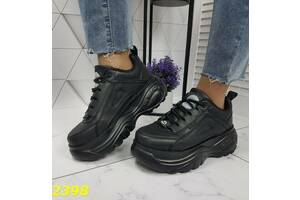 ТОЛЬКО 39р. Черные женские кроссовки в стиле Buffalo 39р-25,5 см