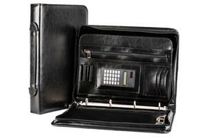 Деловая папка с калькулятором из эко кожи AMO SSBW04 чёрный