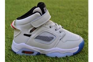 Демисезонные детские кроссовки высокие Nike Air Jordan найк белые р27 - 32