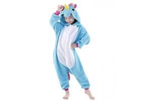 """Детское кигуруми-пижама My little pony """"Единорог"""" из велсофта, для детей ростом до 130 см., голубое"""