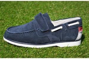 Детские туфли мокасины на липучке для мальчика замшевые синие р32 - 37