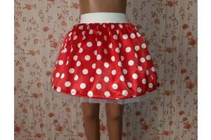 Детская красная юбка на резинке, в белый горошек, модель № 30