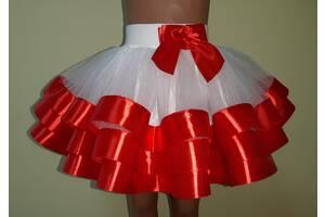 Детская пышная юбочка из фатина, с цветной лентой, модель № 92