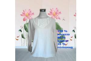 Gina Benotti Красивая стильная блузка вискоза дл рукав белая кружево