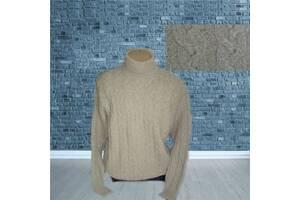 Hugo Boss шерсть + шелк оригинал Супер теплый мужской свитер в косы беж
