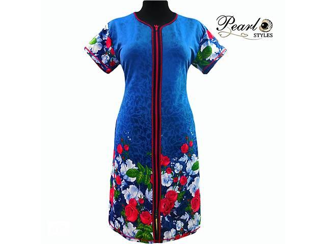 52020b024 Халаты женские купонные летние яркие в цветах на молнии с карманами от  украинского производителя без посредников