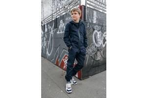 Костюм для мальчиков куртка и штаны демисезонный Softshell Easy синий SKL59-291138