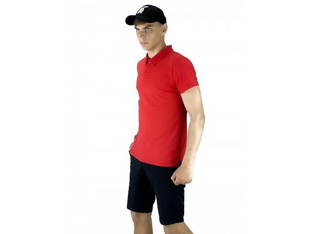продам Костюм летний красно-черный Мужская футболка поло Мужские шорты трикотажные и Кепка SKL59-259648 бу в Киеве