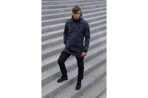 Костюм мужской демисезонный Куртка серая штаны черные утепленные и Ключница SKL59-283340