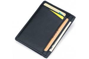 Кожаная кредитница TIDING BAG D3026, черная