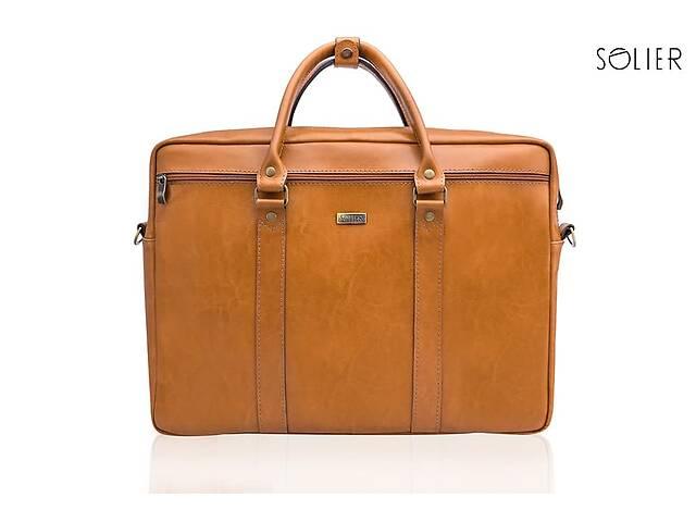бу Кожаная сумка для ноутбука через плечо светло коричневая SlrSL03Camel в Киеве