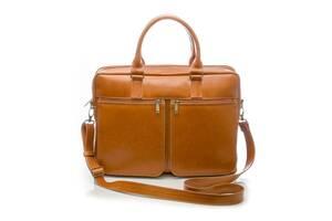 Кожаная сумка на плечо для ноутбука светло коричневая SlrSL01Camel