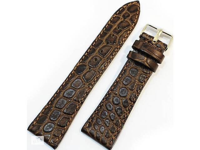 Кожаный солидный мужской ремешок для часов под кожу крокодила Mykhail Ikhtyar 22-096 коричневый