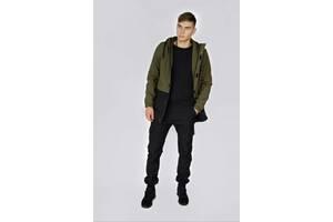 Куртка мужская хаки черная демисезонная Citizen на флисе и Ключница SKL59-283343