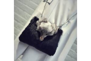 Меховая сумочка чёрная. Женская сумка из меха кролика