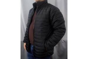 Мужская демисезонная утепленная куртка большого размера черная