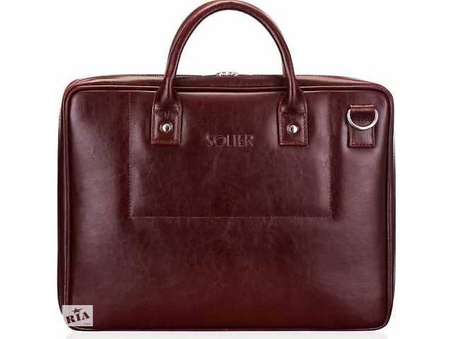 купить бу Мужская сумка для ноутбука 15,6' Solier SL21 MAROON в Киеве