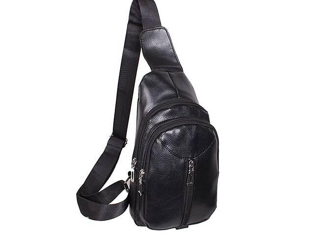 купить бу Мужская сумка мини-рюкзак из искусственной кожи IT1018Black черный в Киеве