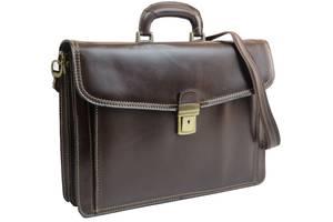 Мужской деловой портфель из натуральной кожи TOMSKOR 81560 коричневый