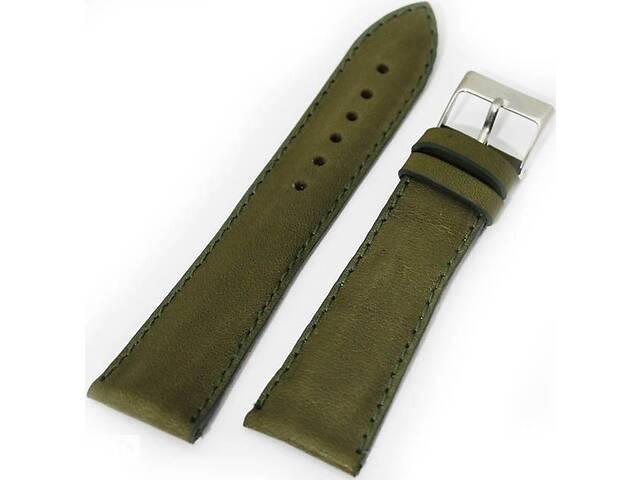 Мужской прочный ремешок для часов, кожаный Mykhail Ikhtyar 8005 зеленый