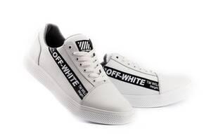 Мужские кроссовки кожаные весна/осень белые CrosSAV 399 Off W