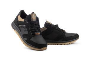 Мужские кроссовки кожаные весна/осень черные Splinter 0220
